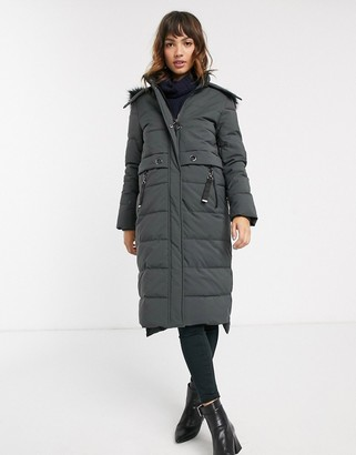 Esprit midi padded coat with faux fur hood in grey