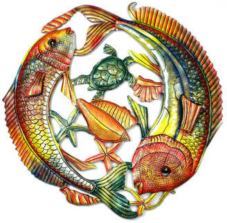 Global Crafts Fish Jumping Handpainted Recycled Metal Wall Art