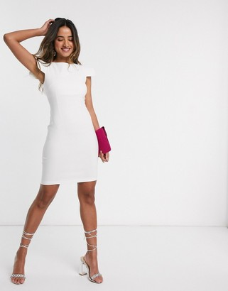 Vesper mini dress with shoulder detail in ivory