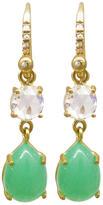 Irene Neuwirth Chrysoprase Teardrop Earrings with Rose Cut Diamonds - Yellow Gold