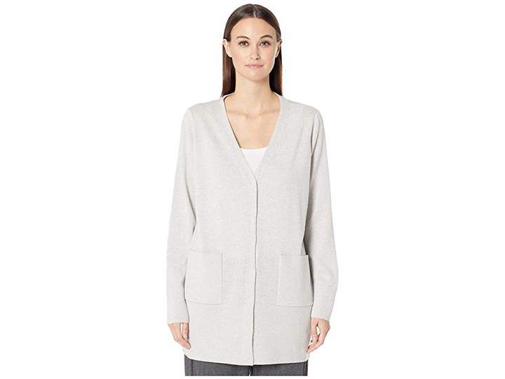 Eileen Fisher Fine Merino Jersey V-Neck Cardigan with Snaps