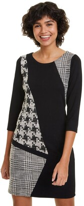Desigual Lara Short Houndstooth Print Dress with Long Sleeves