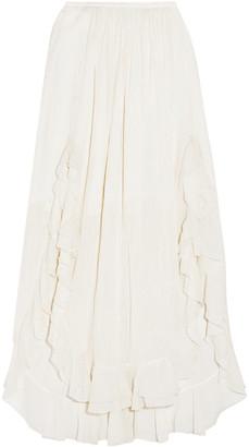 Chloé Ruffled Cotton And Silk-blend Maxi Skirt