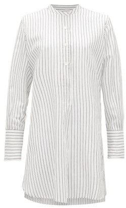 Nili Lotan Loria Striped Cotton-blend Tunic Top - White Black