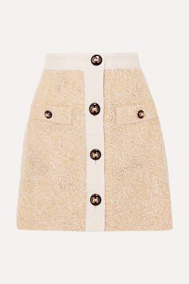 Alessandra Rich Button-embellished Metallic Boucle-tweed Mini Skirt - Yellow
