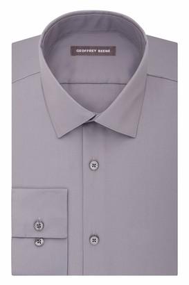Geoffrey Beene Men's Sateen Fitted Solid Spread Collar Dress Shirt