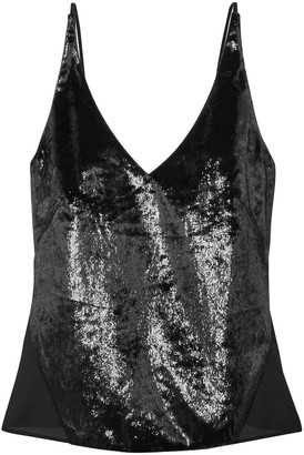 J Brand Lucy Metallic Velvet And Chiffon Camisole