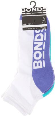 Bonds Womens Logo Quarter Crew Socks 4 Pack