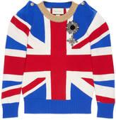 Gucci Union Jack intarsia wool knit top