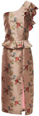 Johanna Ortiz La Divinidad One-shoulder Floral-print Satin Peplum Dress