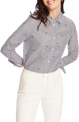 Court And Rowe Floral Embroidery Pinstripe Cotton Button-Up Shirt