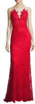 Catherine Deane Embroidered Lace Open-Back Gown
