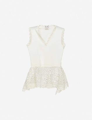 Alexander McQueen Lace-trim stretch-jersey top