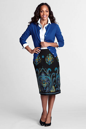 Lands' End Women's Petite Border Print Skirt