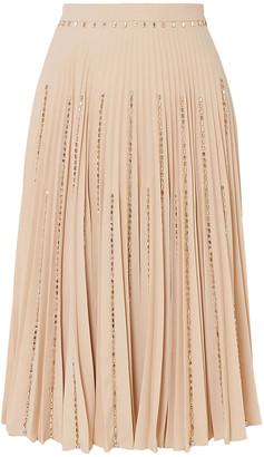 Burberry Crystal-embellished Pleated Crepe Midi Skirt