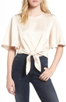 Line & Dot Women's Vero Tie Front Satin Blouse