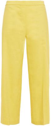 Theory Cropped Linen-blend Wide-leg Pants