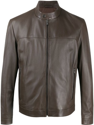 BOSS Band Collar Leather Jacket