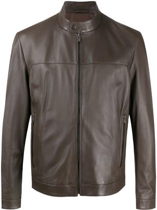 HUGO BOSS Band Collar Leather Jacket