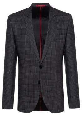 HUGO Extra-slim-fit jacket in checked stretch wool