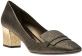 Lanvin cracked leather loafer pump