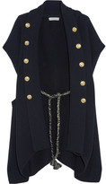 Pierre Balmain Embellished Ribbed Cotton Cardigan - Navy