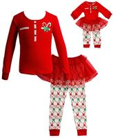 Dollie & Me Girls 4-14 Candy Cane Tutu Pajama Set
