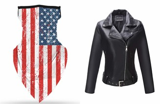 Bellivera Women Leather Moto Jacket and Face Cover