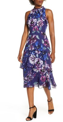 Vince Camuto Floral Ruffle Tiered Chiffon Dress