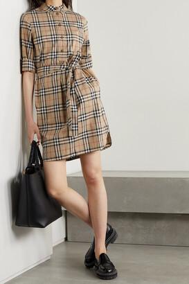 Burberry - + Net Sustain Belted Checked Cotton-blend Poplin Mini Shirt Dress - Brown