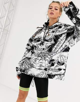 Jaded London hoodie in skull print borg-Black