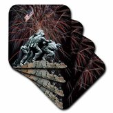 3dRose cst_14248_1 Marine Corp Memorial with Fireworks Soft Coasters (Set of 4)