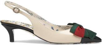 Gucci Leather sling-back pump with Web bow