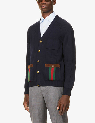 Gucci Stripe-trimmed wool-blend cardigan