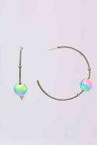 Diane von Furstenberg Gold Medium Hoop With Ball Earring