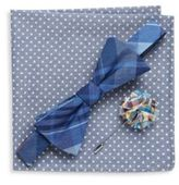 Original Penguin Three-Piece Plaid Bow-Tie, Lapel Pin & Star Printed Pocket Square Set