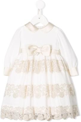 Petit Satin Trim Tiered Dress