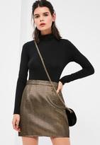 Missguided Petite Exclusive Gold Textured Metallic Mini Skirt