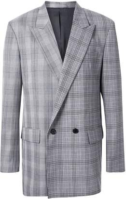 Juun.J contrasting-plaid double-breasted jacket