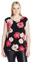 Calvin Klein Women's Plus Size Printed Extended Shoulder Top