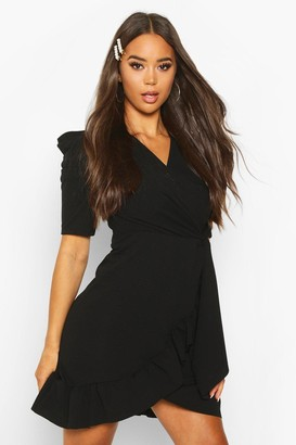 boohoo Puff Sleeve Wrap Ruffle Tea Dress
