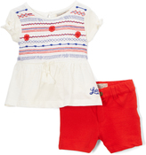 Lucky Brand Bright White Emma 'Lucky' Top & Shorts - Infant