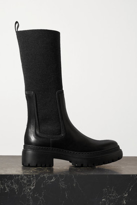 Brunello Cucinelli Bead-embellished Cashmere-trimmed Leather Ankle Boots - Black