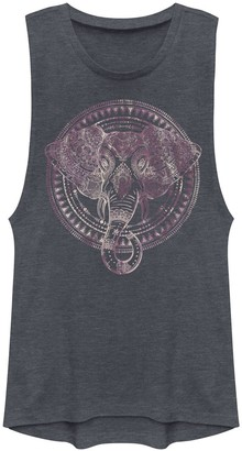 Juniors' Purple Boho Elephant Graphic Muscle Tee