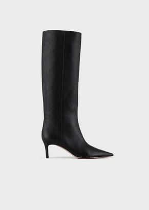 Giorgio Armani Leather Ankle Boots With Stiletto Heel
