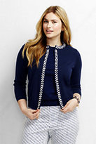 Lands' End Women's Plus Size Supima Cropped Cardigan Sweater-Celestial Blue