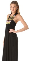 T-Bags Tbags los angeles Maxi Dress with Embroidered Bib