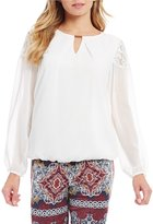 I.N. Studio Solid Keyhole Neck Long Sleeve Lace Detail Top