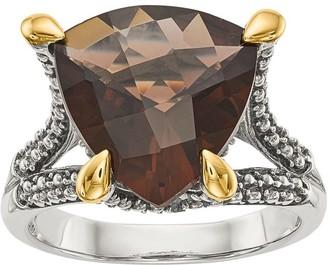 Sterling & 14K Trillion Gemstone Ring