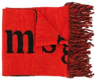 Msgm Kids Logo Fringed Hem Scarf